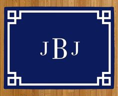 Personalized Door Mat, Monogram Doormat, Greek Key Doormat, Welcome Mat, Navy Blue Rug, Modern Doormat, Wedding Gift, Housewarming