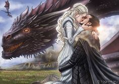 Game of thrones season 7 fan art, Jonerys, Daenerys Targaryen, Jon Snow, Drogon
