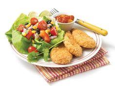 Santa Fe Salad and Gluten-Free Crunchy Breaded Chicken Breast Strips
