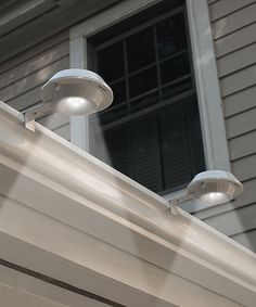 Protect your home with illumination and instant visibility courtesy of these high-powered security lights. Solar power charges these outdoor fixtures on their own while footing the electricity bill.Includes two lights, two mounting brackets and rechargeable battery4.48'' H x 4.92'' diameterPlace in direct sunlight for 24 hours upon initial chargeImported