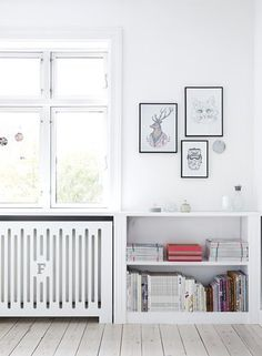Radiator-height built-in shelving