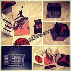 Retro Jordan Shoe Box Inspired Exploding Box Invitation