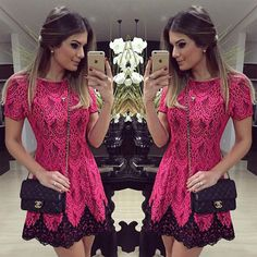 Vestido de festa Embroidery 2016 summer elegant ladies black lace crochet red short dress high waist