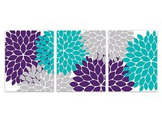 Home Decor Wall Art, Purple, Teal and Grey Flower Burst Art Prints - HOME161