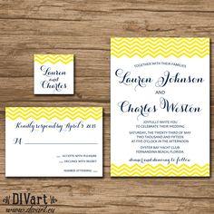 Navy Wedding Invitation Suite, Response Card, Monogram - PRINTABLE files - nautical wedding, caligraphy invitation, navy and yellow - Lauren by DIVart on Etsy