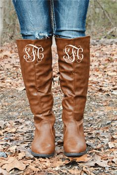 Rock Bottom Riding Boots - Brown with MONOGRAM $97.99 #SouthernFriedChics