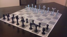 Chess board for the guys in the house, made out of screws.