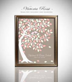 Custom Wedding Guest Book // Thumb Print Guest Book Tree // Guestbook Alternative // Canvas or Matte Print 75-150 Guests // 20x30 Inches on Etsy, $45.00