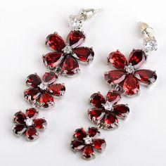 14K White Gold Filled Red Flower Earrings in Jewelry & Watches | eBay #jewelry #earrings
