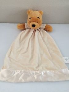 Winnie The Pooh Security Blanket Large Yellow Cream White Satin Disney Store | eBay