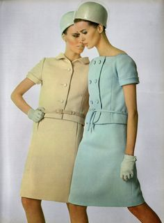 jardin des modes printemps ete 1966 haute couture special capucci mid 60s spring summer suit dress jacket skirt tan baby blue button front tie belt short sleeves bubble hat color photo print ad designer mid century modern MCM vintage fashion style