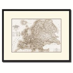 Europe Geological Vintage Sepia Map Canvas Print, Picture Frame Gifts Home Decor Wall Art Decoration