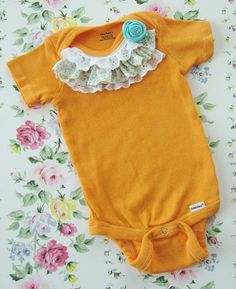 We love the idea of adding some lace to a onesie, so cute and easy! eighteen25: Baby Edition, multiple crafts