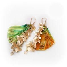 Enya - Shibori Silk Embroidery Earrings - Cascading Flowers Matte Gold Finish - Yellow Green Orange on Etsy, $51.43 AUD
