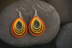 Shades of Orange/Quilling earrings/ Paper Earrings/ Orange-Yellow Earrings