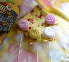 Shabby Chic..Washcloth Lollipop Bundle of 10... Party Favors..Birthday...Infant Washcloths...Girl...Shabby Chic Baby Shower   :)