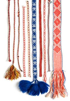 woven bands, Finland,have 5 of them in red and blue so nice Inkle Weaving, Inkle Loom, Card Weaving, Tablet Weaving Patterns, Weaving Textiles, Swedish Weaving, Textile Fiber Art, Woven Belt, Passementerie