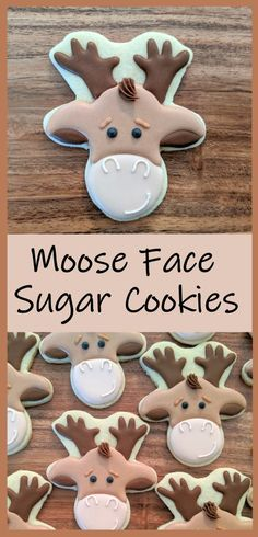 Learn how to make these cute moose faces with an easy step-by-step tutorial!  #butfirstcookies #moose #cookie
