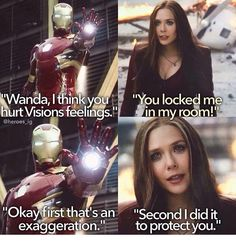 Wanda and Tony - she doesn't realize he WAS doing it to protect her. Tony was trying to keep Ross's death squad away from his teammates, especially a young, inexperienced and volatile one like Wanda.