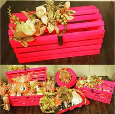 Trousseau Packing ideas That You Need To Know! Wedding Gift Baskets, Wedding Gift Wrapping, Card Box Wedding, Wedding Gifts, Wedding Favours, Wedding Reception, Wedding Dress, Wedding Invitations Diy Handmade, Diy Invitations