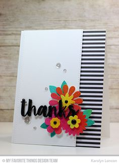 Handmade card from Karolyn Loncon featuring the Sensational Stitched Flowers Card Kit #mftstamps
