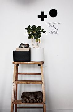 An old ladder and some creative thinking.  See how easy it is to come up with creative shelf ideas?