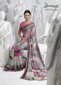 The wine prints on gray-pink georgette  saree will achieving an Extra mile with fabulous floral printed border patti.