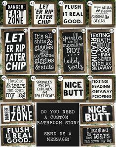Funny Bathroom Signs Bathroom Wall Decor Kids Bathroom Bathroom Humor Get Naked Sign Toilet Sign Bathroom Signs Nice Butt Sign Funny Bathroom Decor, Bathroom Humor, Bathroom Wall Decor, Small Bathroom, Bathroom Ideas, Bathroom Quotes, Kid Bathrooms, Bathroom Storage, Wall Storage