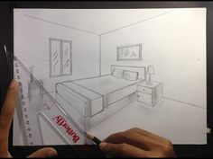 How to Draw a Simple Bedroom in Two Point Perspective. Two-point perspective occurs when you can see two vanishing points from your point of view. Two-point . Croquis Architecture, Interior Architecture Drawing, Drawing Interior, Interior Design Sketches, 1 Point Perspective, Perspective Drawing Lessons, Perspective Sketch, Perspective Room, Bedroom Drawing