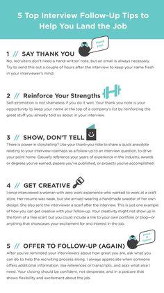 5 Top Interview Follow-Up Tips to Help You Land the Job | Career Contessa Career, Career Advice, Career Tips #career