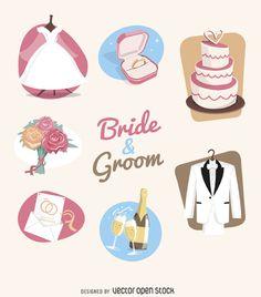 elementos de la boda conjunto de ilustración