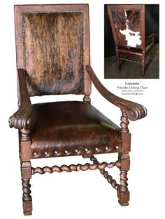 hickory chair small vintage cowhide