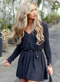 Women's Solid Color Deep V-neck Long Sleeves Dress