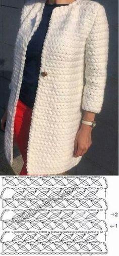 Free Crochet Patterns For 3 Winter Coats - Easy Crochet Winter Coat Ideeas - Crochet Crafty Ideas ( Free Pattern) Crochet Coat, Crochet Winter, Knitted Coat, Crochet Jacket, Crochet Cardigan, Easy Crochet, Crochet Clothes, Free Crochet, Wool Cardigan