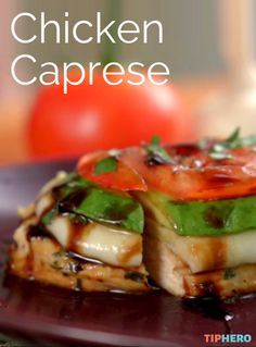 Chicken Caprese Recipe | No more stews and roasts, with the warm weather we want lighter dishes and this Caprese Chicken dish delivers. Simply sauté boneless chicken breasts then top with a slice of mozzarella, basil and tomato and drizzle with a balsamic glaze. We added a slice of avocado for a little twist. It all comes together so quick it's the perfect weeknight meal! Click for the recipe and video.  #familydinner #dinnertime #homecooking #chickendinner