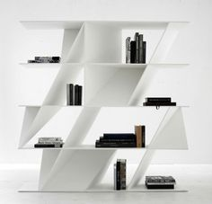 A bookshelf designed by Daniel Libeksind for Poliform. In recent years, the architect has veered towards product design. The Milan branch of his studio is headed up by his son Lev, who looks over the development of Libeskind's product designs.. Image Courtesy of Studio Daniel Libeskind