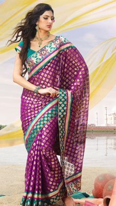 Purple Banarsi Jacquard Saree With Blouse