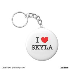 I Love Skyla Basic Round Button Keychain