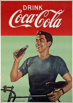 "Nederlandse reclameposter 1955 ""Drink Coca Cola"""
