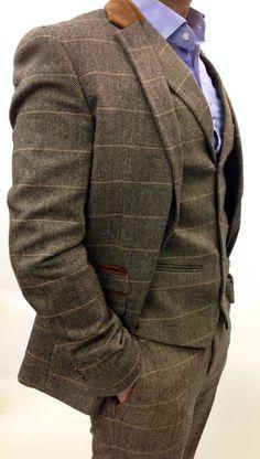 Mens Marc Darcy Designer Tweed Herringbone Checkered Vintage 3 Piece Suit,   eBay