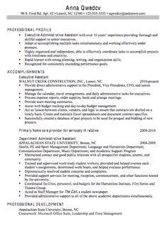 chronological sample resume executive administrative assistant - Executive Assistant Sample Resume