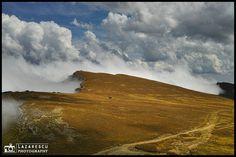 Beautiful landscape on the top of the mountain in autumn season. Bucegi mountain in the Romanian Carpathians. Fall Season, Beautiful Landscapes, Waves, Clouds, Autumn, Seasons, Mountains, Nature, Top