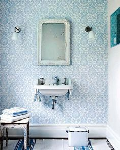Sanderson Home Ashby Damask Wallpaper, China Blue / Ivory, 211999 Bathroom Wallpaper Trends, Damask Wallpaper, Wallpaper Online, Bathroom Colors, Bathroom Sets, Lavatory Design, Small Toilet, Downstairs Loo, Yellow Bathrooms