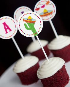 Mexican Fiesta Cupcake Toppers Set of 12 by SunshineParties on #Etsy......so lovely! #MexicanFiestaCupcakeToppers #MexicanFiestaToppers