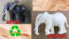 Reciclado de figuras de plástico 3: Cómo hacer imitación marfil muy fácil. Decoupage, Lion Sculpture, Pasta, Statue, Youtube, Projects, Ivory, Dupes, Recycling