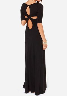 Black Plain Cross Back Hollow-out Elbow Sleeve Dress