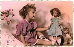 4 vintage Postcards related to Girls and Dolls from curioshop on Ruby Lane