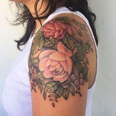 Vintage inspired cap sleeve, thanks @karithecat #vintage#tattoo#floral @botanicaltattoos