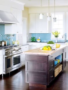 Check Out 28 Colorful Kitchen Backsplash Ideas. Kitchen is a space that has its own ways to show up, and one of the easiest and cutest ways is a colorful kitchen backsplash that is original but in harmony with the rest of the place Blue Backsplash, Kitchen Backsplash, Backsplash Ideas, Kitchen Island, Install Backsplash, Big Kitchen, Awesome Kitchen, Kitchen Redo, Beach House Kitchens