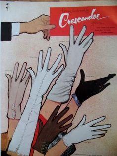 PUBLICITE DE PRESSE CRESCENDO GANTS DESSIN RENé GRUAU ADVERTISING 1949
